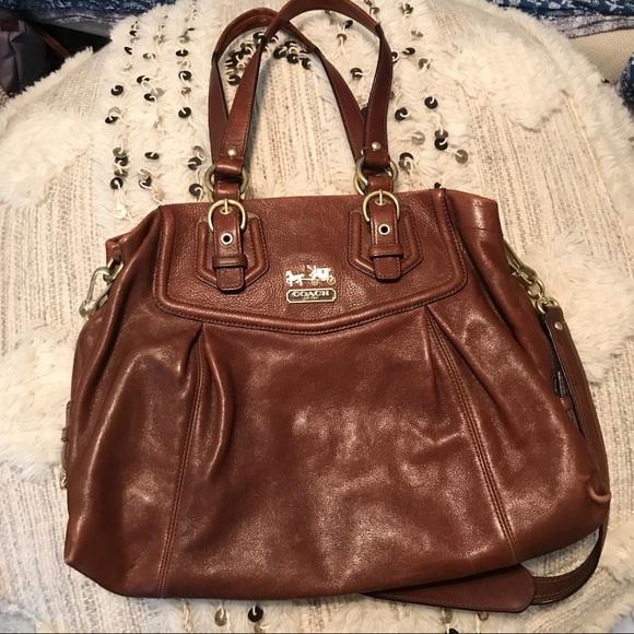 "66d6dfa2c9 Coach Handbags - Coach ""Madison"" Brown Leather Satchel Carryall"